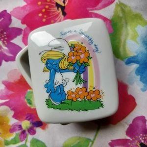 1982 Vintage Smurfs Porcelain Trinket Box